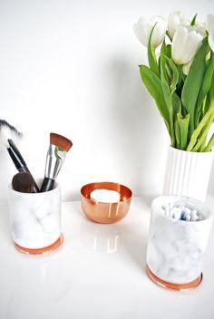 Marble Pot with Copper Lid, Carrara Marble Jar, Makeup Brush Holder, Bathroom…