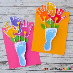 Handprint and Footprint Flowers and Vase: an Adorable Craft for Mother's Day