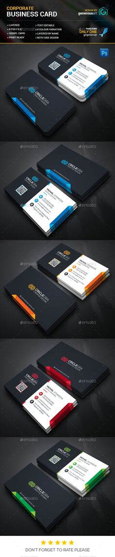 Corporate Business Card Template PSD #design Download: http://graphicriver.net/item/corporate-business-card/14294421?ref=ksioks