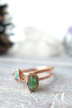 Raw Emerald Copper Stacking Ring - Thin Band // Made to Order