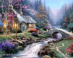Thomas kinkade art- I have his art work in my home everywhere