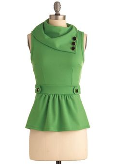 Coach Tour Top in Grass - Mid-length, Green, Solid, Buttons, Vintage Inspired, 40s, Sleeveless, Peplum