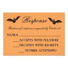 Wicked Halloween Chevron Orange Black Response Card - invitations custom unique diy personalize occasions