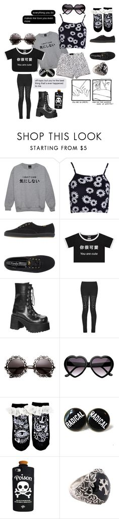 """{dark lady lovers}"" by benevolent-bby ❤ liked on Polyvore featuring Boohoo, Keds, Demonia and Valfré"