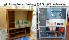 Diy entertainment center into play kitchen 5 entertainment center fantastic play kitchens diy entertainment center play Upcycled Furniture, Kids Furniture, Recycling Furniture, Diy Kids Kitchen, Kitchen Ideas, Childs Kitchen, Toddler Kitchen, Awesome Kitchen, Kitchen Inspiration