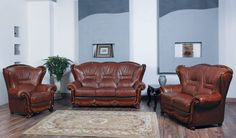 ESF Sofa 100Description :This living room sofa has an inviting appeal and comfort. Sofa is accented with wood framing and wrapped in finest genuine Italian leather. Variety of colors available for special ordering. (Loveseat and Chair are optional)Materials:Genuine Full Leather FrontsGenuine Full Leather BacksComfortable Seating and BacksWell Constructed FrameComfortable ArmrestsRemovable CushionsDimensions:Sofa : W 80 x D 39x H43                           …