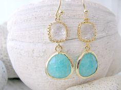 Bridesmaid Earrings,Mint Earrings With Crystal Gemstones,Crystal Earrings,Ocean Blue Earrings,Gold Dangle Earrings,Beach Jewelry,Wedding by LetItBeLove on Etsy