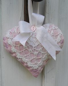 Quilted Heart Lavender Sachet  Pink with Vintage by paintedquilts, $14.95