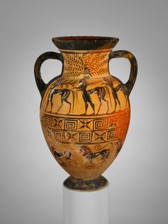 Terracotta neck-amphora (jar). Attributed to the Paris Painter. Period: Archaic. Date: ca. 575–550 B.C. Culture: Etruscan. Upper frieze, procession of centaurs. Lower frieze, procession of lions