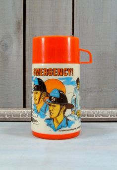 1973 Emergency Thermos, TV Show Thermos, Vintage Lunchbox Thermos. 34.00