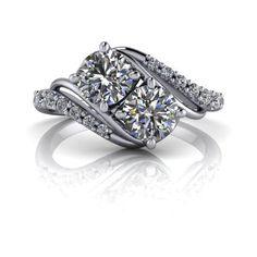 Two Stone Ring Moissanite and Diamond Radiant Light™ Moissanite 1.13 C