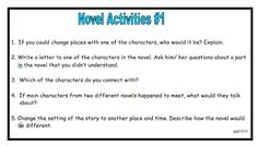 Novel Response Cards - They can be used with any book!  60 activities on 12 cards. Laminate for future use. Priced item