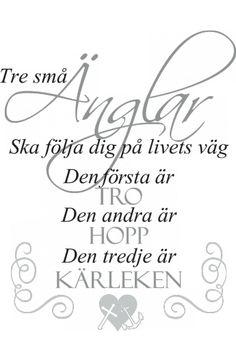 Väggtext: Tre små änglar Digital Stamps, Baby Cards, Verser, Proverbs, Self Love, Motivation, Feelings, Words, Quotes