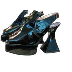 Vintage John Fluevog Patent Leather Open Toe Muenster Platform Shoes... (10.415 RUB) ❤ liked on Polyvore featuring shoes, pumps, heels, patent shoes, open-toe pumps, patent pumps, platform shoes and john fluevog shoes