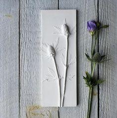 Sea Thistle Plaster Cast Tile Mounted on Wood, botanical art, flower tile, Birthday, gifts for Simple Flowers, Real Flowers, Plaster Cast, Thistle Flower, Resin Art, Clay Art, Seed Pods, Red Berries, Botanical Art