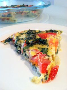 Skinny tomato, basil and kale crustless quiche