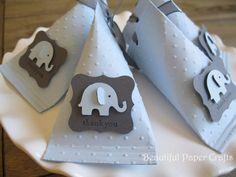 Bebé azul y gris bebé elefante - bebé ducha favores - cumpleaños cotillón - elefante favor cajas... juego de 12 de BeautifulPaperCrafts en Etsy