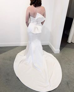 We like big bow's and we cannot lie! Wedding Bows, Wedding Dress Styles, Bridal Dresses, Couture Dresses, Fashion Dresses, Mikaella Bridal, Bird Dress, Fit And Flare Skirt, Bride Look