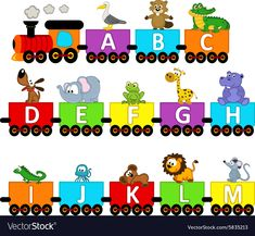 Illustration about Alphabet train animals from A to M - vector illustration, eps. Illustration of transport, alligator, font - 58424229 Trains Preschool, Preschool Learning Activities, Preschool Classroom, Classroom Themes, Book Activities, Alphabet A, Alphabet Charts, Alphabet For Kids, Train Clipart