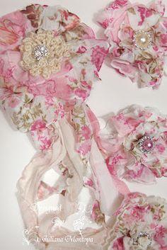 Handmade Fabric Shabby Chic/Vintage Flowers