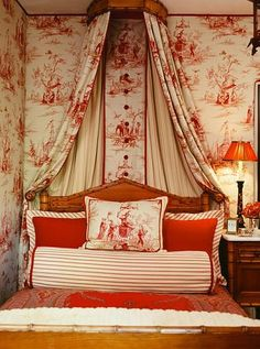 Should I drool on the curtaining, or the wallpaper design, or the lamp, or the pillow designs… or… *drool*