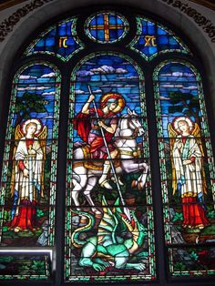 St George and the Dragon - stained glass icon of St. George the Great Martyr @ St. George Ukranian Catholic Church