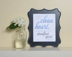 Bible Verse art, printable, Psalm 51:10, Create in me a clean heart, typography
