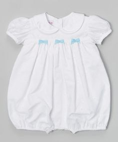 Look at this #zulilyfind! White & Blue Eyelet Bow Bubble Bodysuit - Infant by SIMI #zulilyfinds