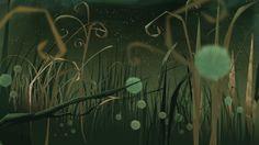 Fantasma by Juan Francisco Cancelleri Forest Illustration, Environment Concept Art, Visual Development, Illustrations, Game Design, Game Art, Northern Lights, Scenery, Animation