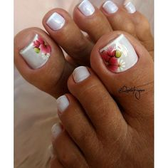 30 fotos de unhas dos pés decoradas com flores uñas ногти y дизайн ногтей. Fall Toe Nails, Pretty Toe Nails, Pretty Toes, Best Toe Nail Color, Fall Nail Colors, Toenail Art Designs, Beautiful Toes, Toe Nail Art, Long Nails