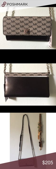 """❗️BRAND NEW❗️2017 Michael Kors Wallet Purse!!🌻 BRAND NEW! This is an authentic 2017 design- not an older one. I got the last one 🙌🏻 This was supposed to be a gift for my friend but I just found out she got one already from her boyfriend. Only a week old! Perfect """"wallet on a chain"""" for the day or for going out at night. It has a """"21-""""25 adjustable strap, and a flap with a twist lock feature. Interior has lining with 2 pockets, 1 zip pocket, and a total of 14 card slots! Again, brand new…"""