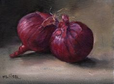 2 red onions painted 1st August 2015
