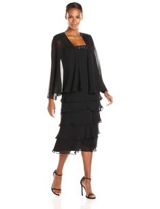 Fashions Women s Ruffle Skirt Embellished Trim Jacket Dress    Click image  for more details. (This is an affiliate link). Cecilanthony · Dresses 7e20256c54b5