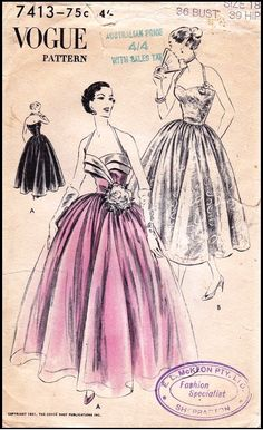 Vogue #7413 - Ladies 'easy to make' Formal Dress. Six-gored skirt, gathered all around, joins the bare-top bodice below waist-line. Skirt in two lengths. Shaped faced flanges at bodice top optional. Halter shoulder strap. Circa 1951. This pattern is a re-issue of pattern V3423 from the prior year.    Available soon as a reproduction from Vintage Pattern Lending Library - Size 32 Bust.