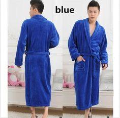 8f59faedf3 Loose Men Women Long Sleepwear Robes Shawl Collar Bathrobe HOT Blue US XL   fashion