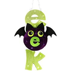 """31"""" LED Lighted Lime Green and Purple """"EEK"""" Spooky Bat Hanging Halloween Decoration ** You can find out more details at the link of the image. (This is an affiliate link) #SeasonalDcor"""