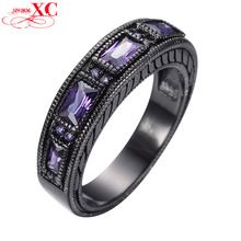 Amethyst Cubic Zircon Stone Rings For Female Male Antique Black Gold Filled Rhinestone Ring Party Friendship Gift Anel RB0097(China (Mainland))