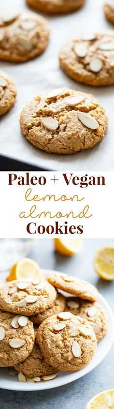 These chewy lemon almond cookies have tons of flavor and the absolute perfect cookie texture! They're fancy enough to serve to guests and easy enough to whip up when a cookie craving hits. Paleo, vegan, gluten-free, dairy-free, and refined sugar free. Paleo Sweets, Paleo Dessert, Vegan Desserts, Dessert Recipes, Vegan Treats, Dessert Ideas, Fun Desserts, Paleo Cookies, Almond Cookies