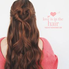 half-up/half-down twisted heart bun for Valentine's day-- EASY!
