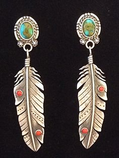 Feather earrings set with Apache turquoise and red coral by Annelise Williamson