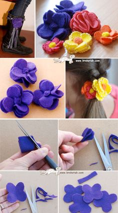 FELT FLOWERS, especially like the stitching on the edges of the yellow flower!