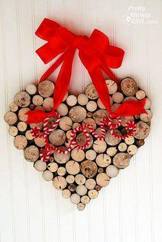 Wooden heart wreath