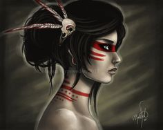 LAST ONE - Amazon warrior - 11x14 fine art archival print - tribal dark fantasy painting - native