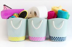 Easy and cute storage ideas. Make these easy DIY bathroom storage containers perfect to get your bathroom organized Small Bathroom Interior, Small Bathroom Sinks, Bathroom Storage, Bathroom Organization, Bathroom Jars, Household Organization, Organization Ideas, Bathroom Ideas, Diy Storage Containers
