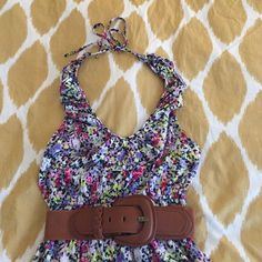 Flower print Express dress Halter top dress with ruffled neckline. Flower print. Perfect condition, hardly worn. Belt shown in first picture can be bundled with it. Express Dresses