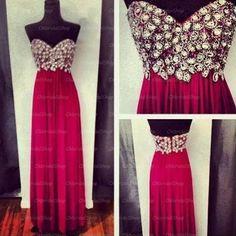Hot pink prom dress, chiffon prom dress, long prom dress, prom dresses cheap, 15102