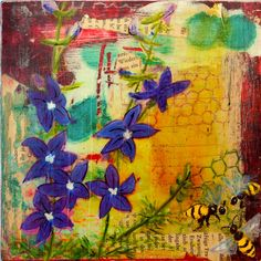 Mixed Media Bees and Flowers Original by BobbisMixedMediaArt