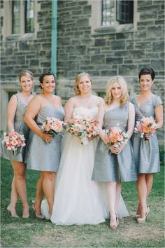 Bridesmaid inspiration - gray short dresses with nude shoes and peach/pink/cream flowers