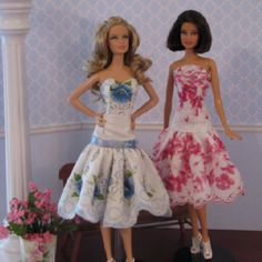 Barbie doll party dresses made from vintage hankies
