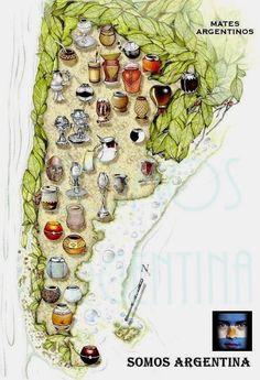 ARGENTINA. Detalle de los diferentes tipos de MATES que se utilizan en Argentina, de acuerdo a las diferentes zonas de nuestro país.-